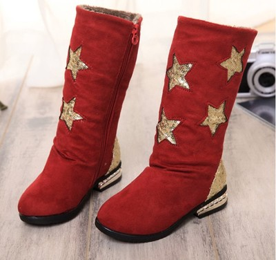2014 autumn and winter new Korean girls sequined boots high boots child star big boy princess small high-heeled boots