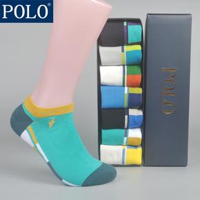 7双礼盒装POLO夏款薄潮彩色运动袜星期男袜子男短袜船袜纯棉袜子