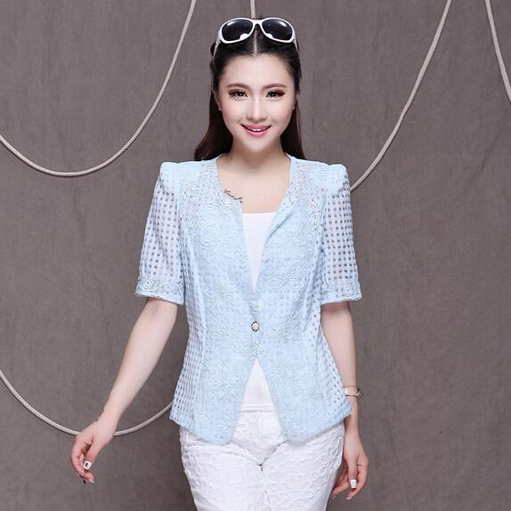 民族风清新女装上衣 欧根纱拼接中袖小西装 韩版修身甜美职场外套