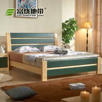 实木家具 卧室双人床 松木床 新西兰松木床单人床 仿皮漆床实木床
