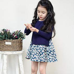 童装女童长袖连衣裙2016春秋新款红裙子儿童宝宝碎花公主裙韩版