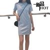 夏季POLO衬衫领不规则纽扣短袖针织连衣裙长衫纯色学生裙子女