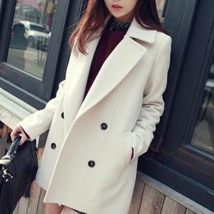 讴若缇秋冬新款休闲大码女装呢子大衣韩版中长款宽松毛呢外套女潮