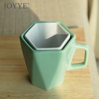 送礼棱角简约纯色陶瓷水杯棱形杯马克杯创意情侣杯陶瓷杯对杯