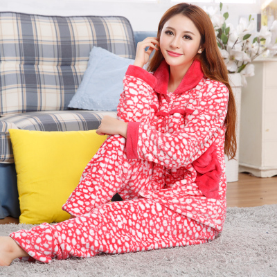 Casual long-sleeved flannel pajamas female winter super soft and lovely thick coral velvet tracksuit suit lapel girls