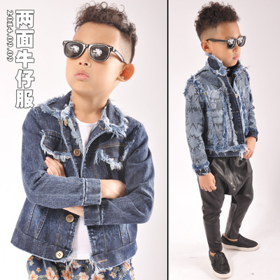 12.11 on the new children's jeans wear denim jacket boy two faces of children decadent rock y491