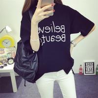 韩国夏季短袖t恤女纯棉印花字母学生中长款宽松上衣半袖闺蜜潮装