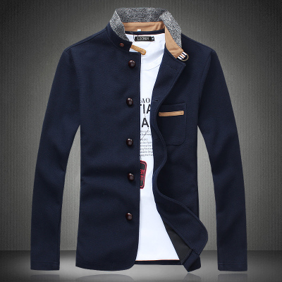 New England spring stitching knit jacket male taxi fertilizer XL thin coat Korean tidal fat people Men