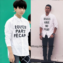 Tfboys chun-kai wang source thousand seal letters long-sleeved shirt young GO similar to men and women lined clothes coat