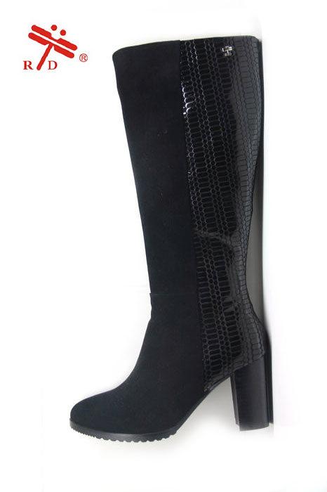 新款专柜正品台湾红蜻蜓女靴皮瘦腿长靴粗跟磨砂皮靴高筒靴112014