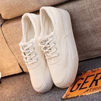 远波春季女士低帮帆布鞋松糕厚底休闲学生白色布面单鞋懒人鞋