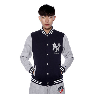 US professional baseball velvet tracksuit men's winter thick section MLB NY Yankees cardigan jacket male A4115
