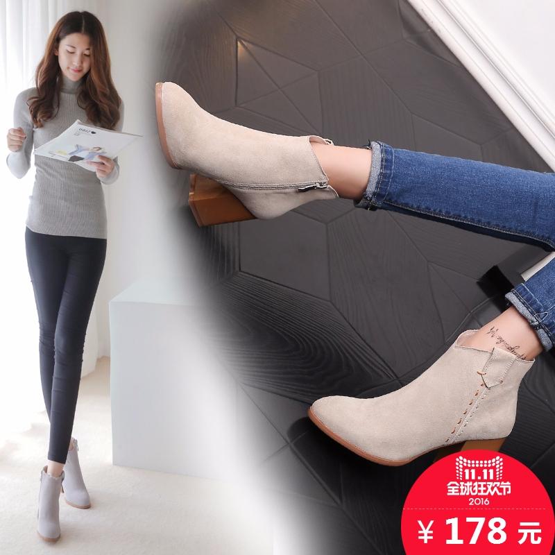诗拉曼秋冬女靴真皮粗跟短靴马丁靴尖头单靴高跟裸靴磨砂皮鞋子潮