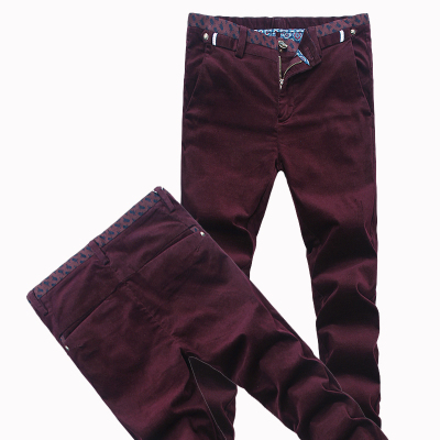 High quality men's casual pants Korean tidal stretch pants corduroy trousers male pants feet dark burgundy strip Trousers