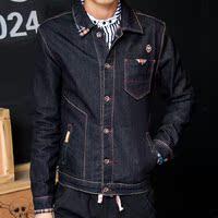 男士牛仔外套潮男夹克衣服 韩版休闲牛仔衣外衣 黑色男装修身上衣