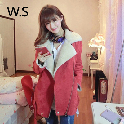 2014 winter new Korean version of the thick woolen overcoats suede padded suede female short paragraph small coat tide