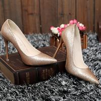 性感亮片真皮尖头高跟鞋细跟韩国公主单鞋女鞋2015新款潮婚鞋金色