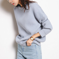 [A152]韩范显瘦圆领亲肤女装宽松慵懒风针织衫2016秋季新款毛衣