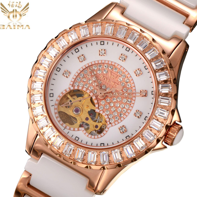 正品佰玛白色陶瓷镶钻女士手表奢华立体镂空机械女表全国联保3610