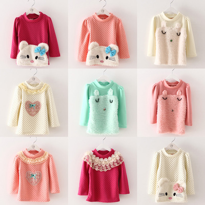 Winter 2014 Korean version of the new children's clothing female baby child thick long-sleeved T-shirt bottoming shirt tx-2280