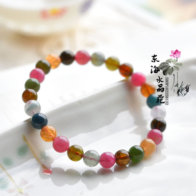Authentic Brazilian natural color tourmaline crystal bracelet upscale female models luck bracelets Lucky Wang Vanves child