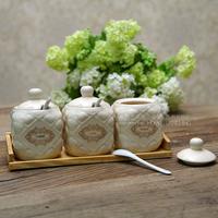 七格格 欧式陶瓷调味罐调料罐三件套盐罐糖罐调味料盒厨房用品