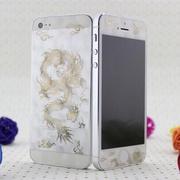 中国龙幸运树苹果5手机贴膜iphone5s彩膜iphone4s手机膜烫金3d膜