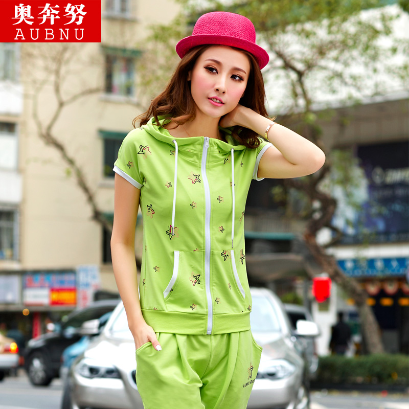 aubnu 2014夏装新款开衫卫衣女式运动套装女款韩版修身休闲套装女