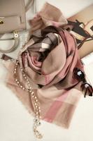 秋冬新款 英伦风大格子斜纹纯羊绒围巾保暖长巾披肩男女通用
