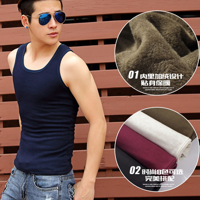 Men warm vest men plus thick velvet autumn and winter thermal underwear close-fitting cotton round neck sleeveless vest Slim