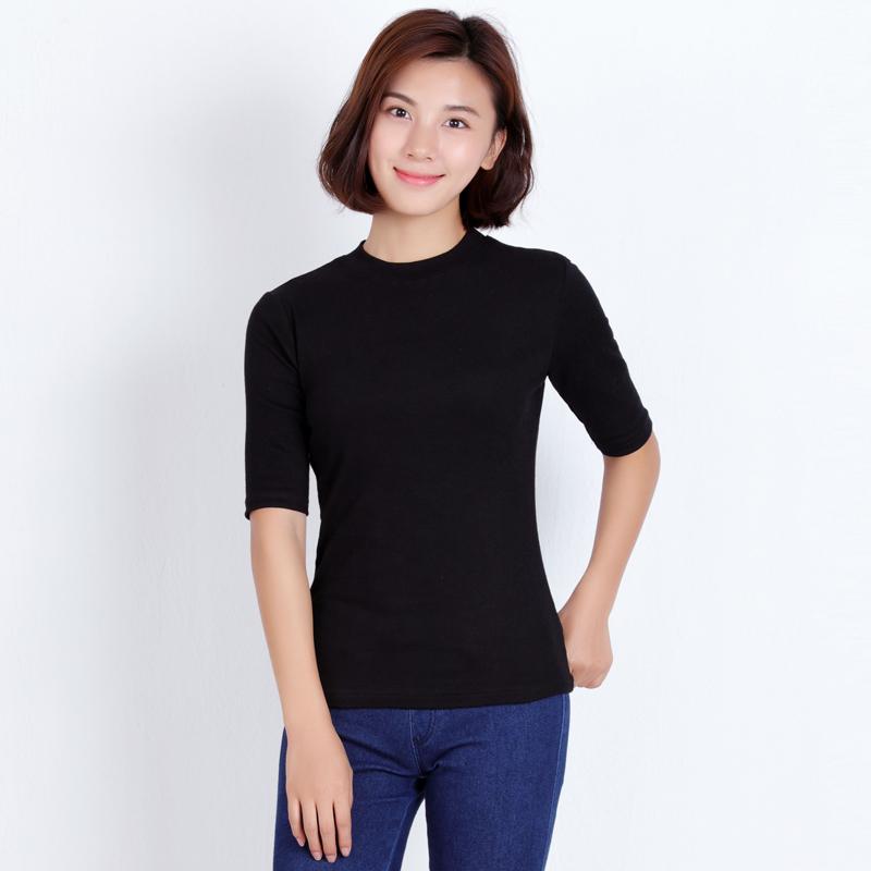 韩版纯色纯棉半高领修身短袖中袖T恤女紧身韩国简约五分袖打底衫