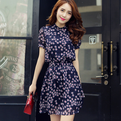 In the summer of 2015 the new women's floral print temperament of han edition cultivate one's morality show thin plus-size short sleeve chiffon dress