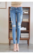 South Korea han edition of elastic Jin Zhixian pencil foot trousers cultivate one's morality show thin knee hole jeans female trousers