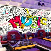 涂鸦流行音乐新时尚KTV酒吧歌舞厅背景墙工装大型壁画定制壁纸