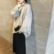 于momo定制秋冬毛衣女加厚套头落肩袖短款宽松毛衣H6317