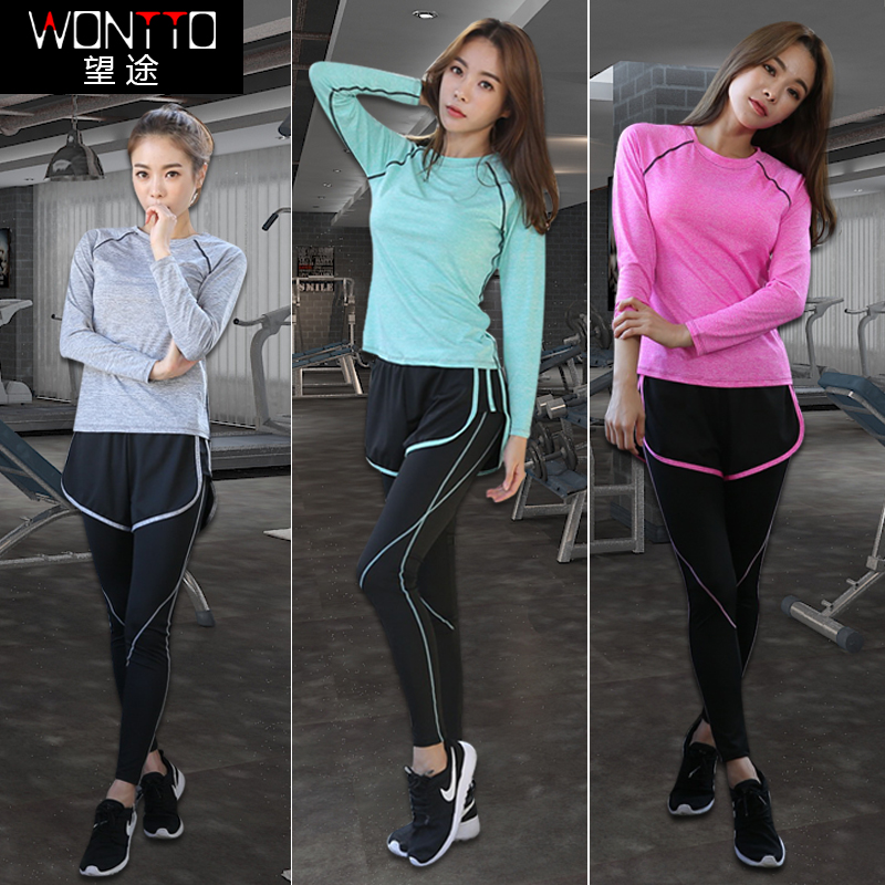 WONTTO瑜伽服健身运动套装女秋季训练跑步服长袖休闲羽毛球健身服