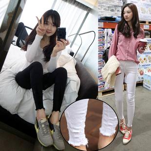 韩国高腰黑色白色紧身牛仔裤女磨破九分小脚裤弹力显瘦9分铅笔裤