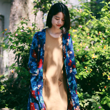 Plain writing W03 iris Summer type of literature and art, restoring ancient ways is paragraph shirt is prevented bask in unlined upper garment grows in floral cotton cardigan coat