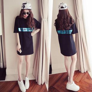 2016夏季新款韩国短袖中长款字母T恤女宽松显瘦时尚连衣裙短裙潮
