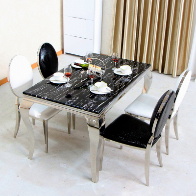 2014 new listing stainless steel dining table glass dining table dinette combination of single-table table
