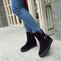 秋冬新款内增高平跟中筒靴雪地靴校园风百搭女短靴大小码学生靴
