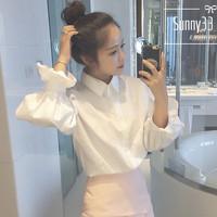 促销新品白色白衣泡泡长袖韩版小清新学生上衣女修身百搭纯色衬衫