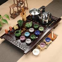小兰香整套茶具套装冰裂紫砂特价功夫茶具陶瓷茶艺道实木茶盘包邮