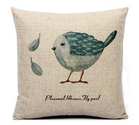 宜家地中海 印花棉麻手绘呆萌鸟系列蓝鸟 抱枕 布艺沙发靠垫靠枕