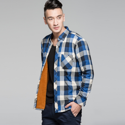 Langmeng 2014 men's warm winter models thick long-sleeved plaid shirt plus velvet shirt male Korean version of casual men's