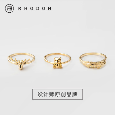 Original jewelry tail ring 925 silver single female pinky ring Korea Korean Fashion Feather lovely Christmas deer