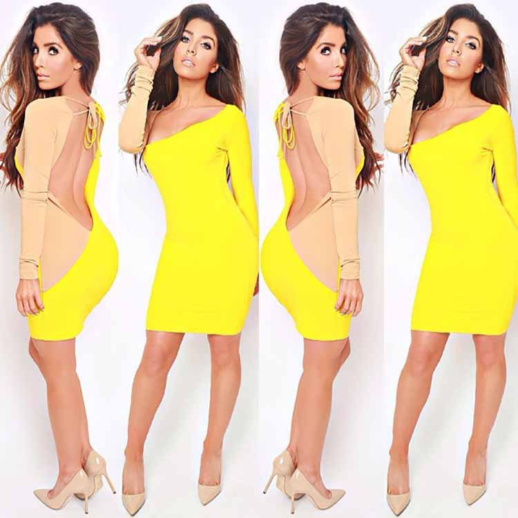 Women Bandage Bodycon Long Sleeve Party Cocktail Dress 562