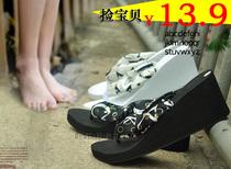 外贸断码夏季新款波西米亚风丝绸人字拖坡跟松糕拖鞋女式休闲凉鞋
