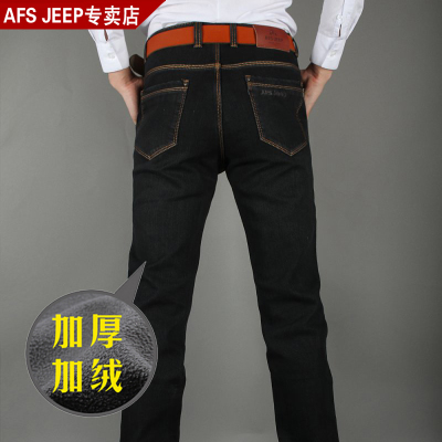 Autumn and winter thick section counter genuine AFS JEEP Battlefield Jeep Men jeans plus thick velvet cotton trousers