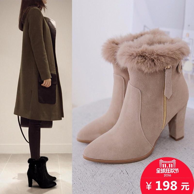 诗拉曼兔毛鞋冬靴子保暖雪地靴真皮高跟女靴粗跟短靴马丁靴骑士靴